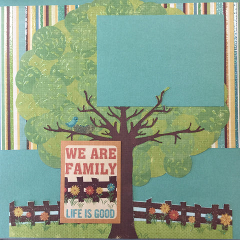 "Premade Page WE ARE FAMILY (1) 12""x12"" Scrapbook @Scrapbooksrus Scrapbooksrus"