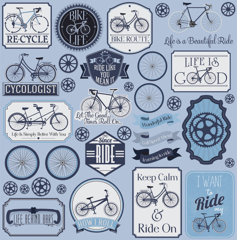 "Reminisce BIKE LIFE Die Cut Stickers 12""X12"" 22pc Scrapbooksrus"