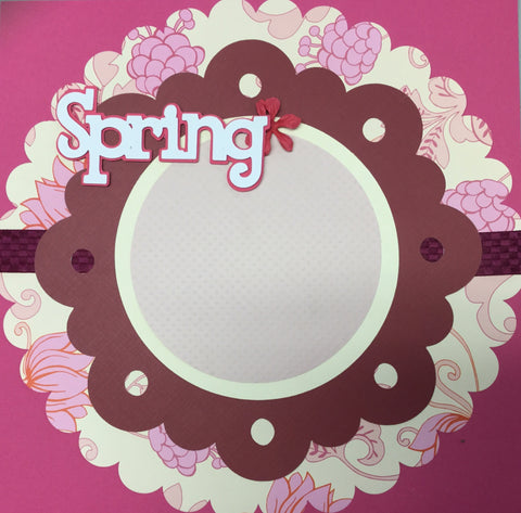 Premade Page (1) 12X12 SPRING PINK Scrapbook @Scrapbooksrus