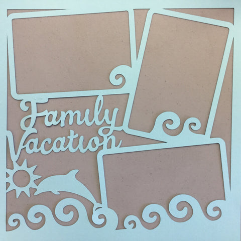 "Page Frame FAMILY VACATION BLUES 12""x12"" Scrapbook Overlay"