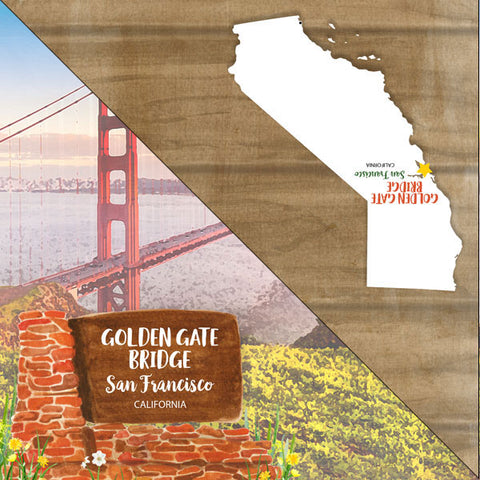 "California GOLDEN GATE BRIDGE San Francisco Double Sided 12""X12"" Scrapbook Paper Scrapbooksrus"