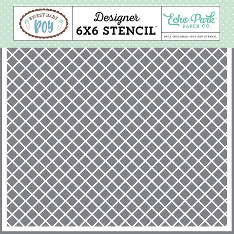 "Echo Park Sweet Baby Boy 6""X6"" SIMPLE PLAID Stencil 1pc Scrapbooksrus"