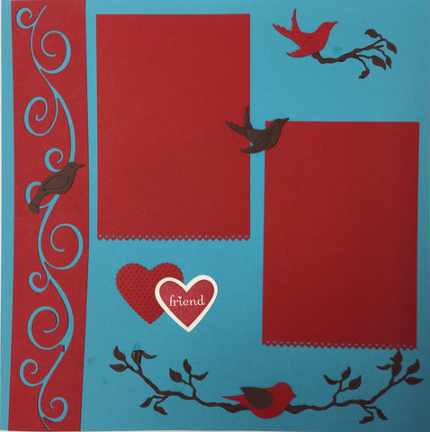 Premade LOVEBIRDS (2) 12X12 Scrapbook Pages Scrapbooksrus