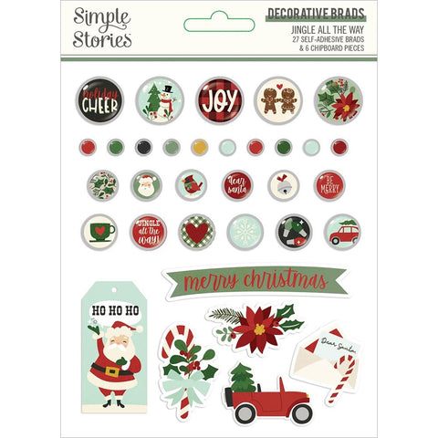 Simple Stories JINGLE ALL THE WAY Decorative Brads & Chipboard Pieces 33pc Scrapbooksrus