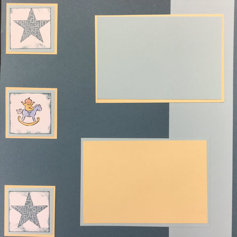 "$5.00 Premade Pages BABY BOY (2) 12""X12"" Scrapbook Pages Scrapbooksrus"