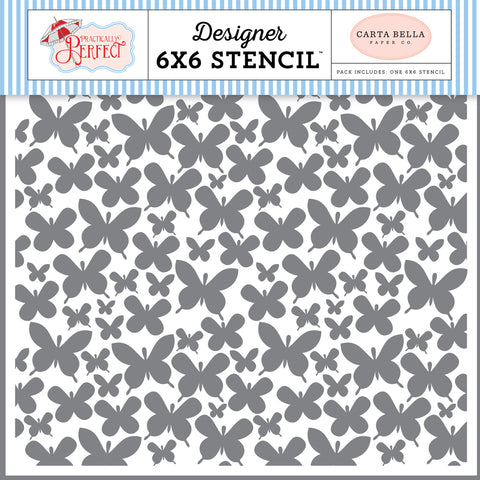 "Carta Bella Practically Perfect  6""X6"" BUTTERFLY GARDEN Stencil 1pc Scrapbooksrus"