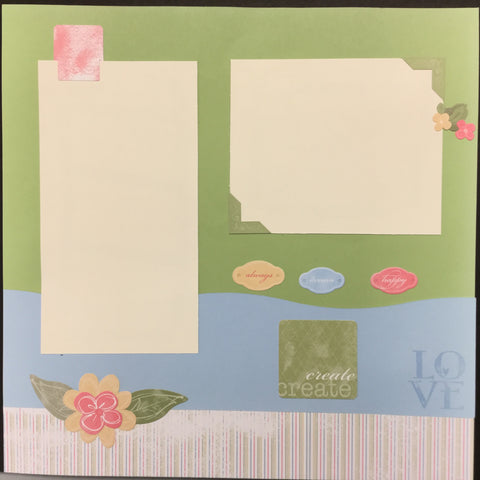 "Premade Pages CREATE LOVE (2) 12""X12"" Scrapbook Pages Scrapbooksrus"