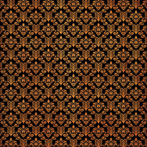 "Scrapbook Customs HALLOWEEN DAMASK- SMALL ORANGE SWIRLS 12x12"" Scrapbook Paper Scrapbooksrus"