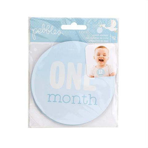 Pebbles Lullaby MONTH STICKERS BOY First Year Age 12pc