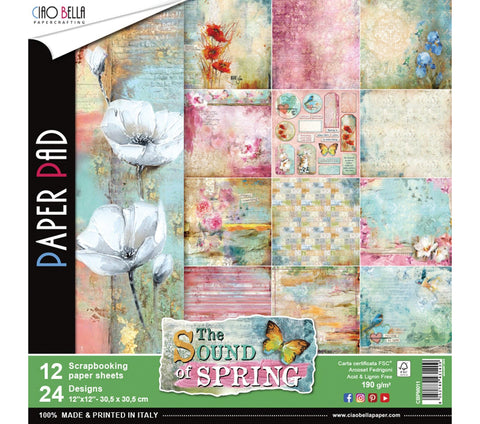 Ciao Bella THHE SOUND OF SPRING Paper Pad 12 Sheets Scrapbooksrus