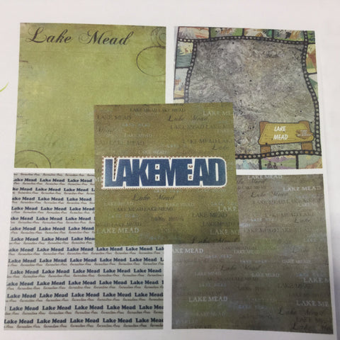 "LAKE MEAD KIT 12""X12"" Travel Scrapbook Paper With Laser Title"