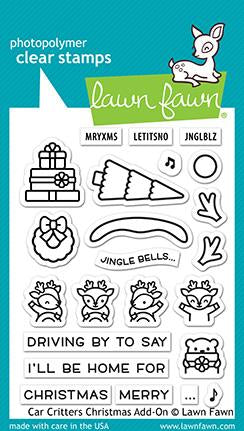 Lawn Fawn CAR CRITTERS CHRISTMAS ADD-ON Clear Stamps