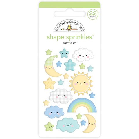 Doodlebug  Special Delivery NIGHTY- NIGHT Shape Sprinkles 22pc.