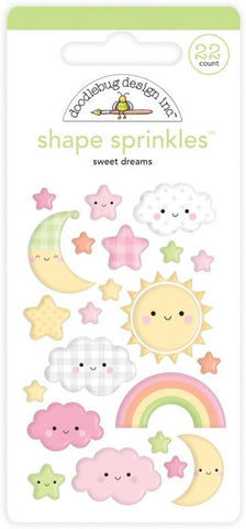 Doodlebug  Special Delivery SWEET DREAMS Shape Sprinkles 22pc. Scrapbooksrus