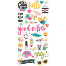 Simple Stories GOOD VIBES Chipboard Stickers 31 pc