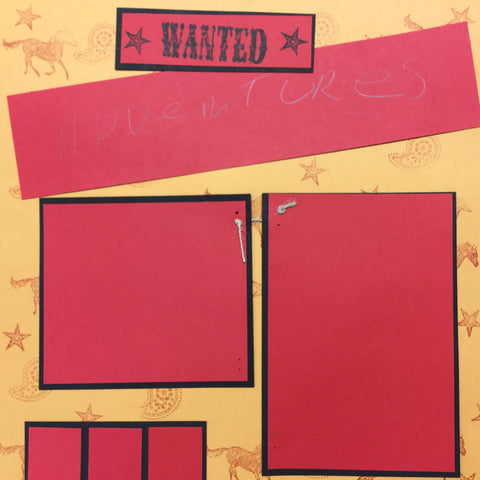 "$5.00 Premade Pages ADVENTURES WANTED (2) 12""X12"" Scrapbook Pages Scrapbooksrus"