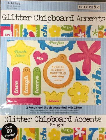Colorbok GLITTER Chipboard Accents Scrapbooksrus
