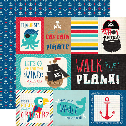 "Echo Park Pirate's Life JOURNALING CARDS 12""x12"" Paper Scrapbooksrus"