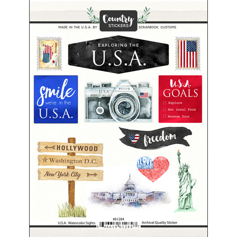 Country Stickers USA WATERCOLOR SIGHTS 18 pc Scrapbook Customs Scrapbooksrus