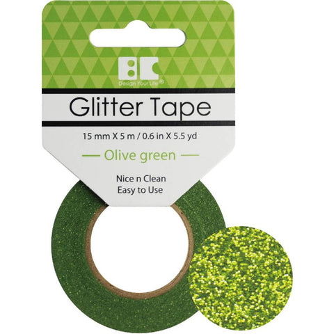 Best Creation GLITTER TAPE OLIVE GREEN Permanent Washi Tape