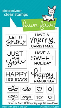 Lawn Fawn SHUTTER CARD HOLIDAY SAYINGS Clear Stamps Scrapbooksrus