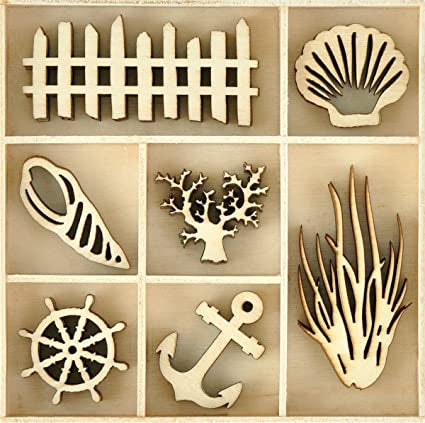 Kaisercraft BEACH Wooden Flourishes Pack 35pc Scrapbooksrus