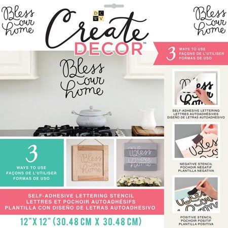 DCWV Create Decor BLESS OUR HOME Stencil Scrapbooksrus
