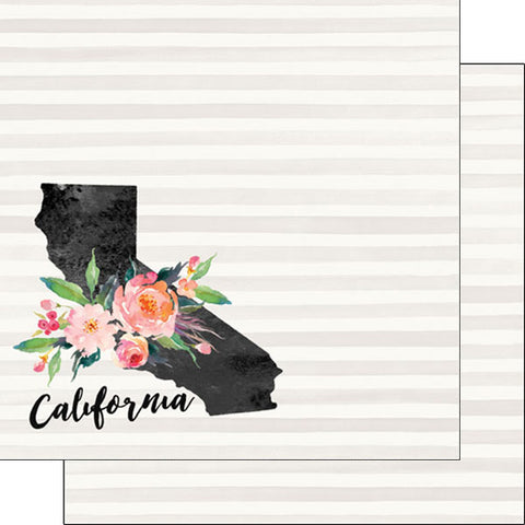 "CALIFORNIA WATERCOLOR 12""X12"" Scrapbook Travel Paper Scrapbooksrus"