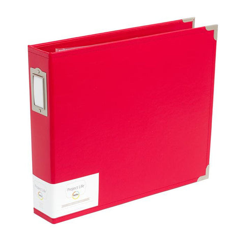 "Project Life 8""X8"" CHERRY Red Faux Leather D-Ring Scrapbook Album Becky"
