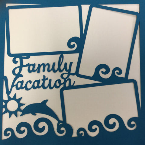 "Page Frame FAMILY VACATION PEACOCK 12""x12"" Scrapbook Overlay"
