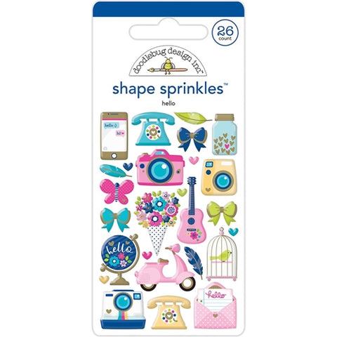 Doodlebug HELLO Shape Sprinkles Stickers 26pc
