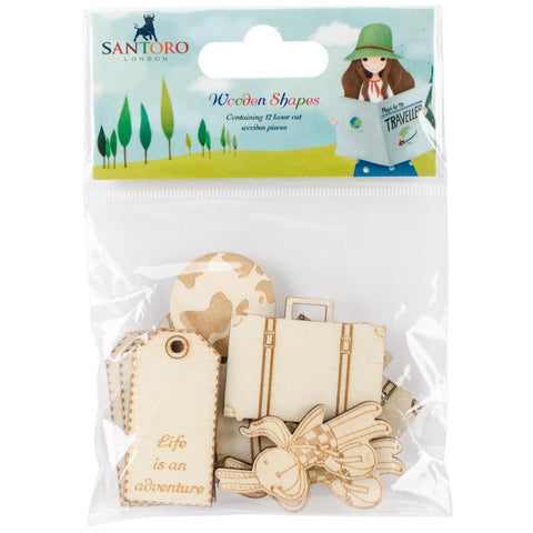 Santoro London Kori Kumi WOODEN SHAPES Travel Chipboard