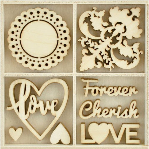 Kaisercraft BE MINE Wooden Flourish Pack 40pc Scrapbooksrus
