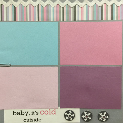 "$5.00 Premade Pages BABY ITS COLD OUTSIDE 12""X12"" Scrapbook Pages Scrapbooksrus"