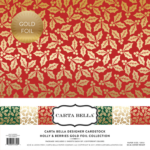 "Carta Bella HOLLY & BERRIES 12""X12"" Scrapbook GOLD FOIL Kit"