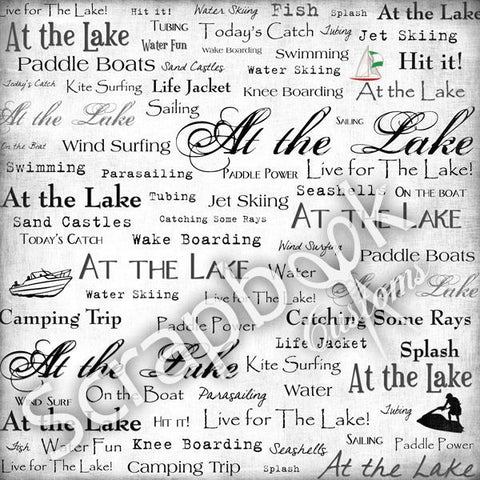 "AT THE LAKE Live For 12""X12"" Scrapbook Travel Beach Paper"