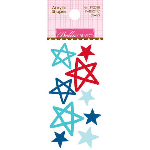 Bella Blvd PATRIOTIC STARS Acrylic Shapes Scrapbooksrus