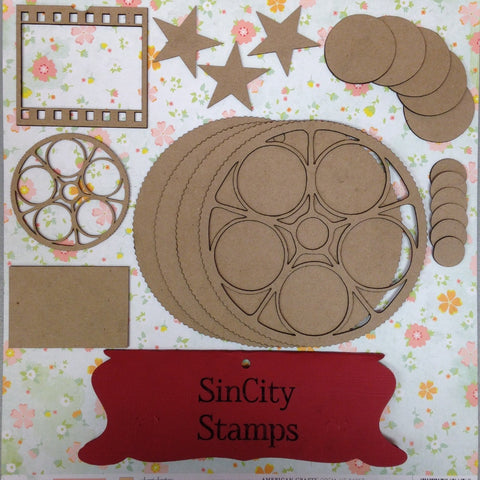 "Sin City Stamps Movie Reel Chip Board Album  5.5"" X 5.5 '' - Scrapbook Kyandyland"