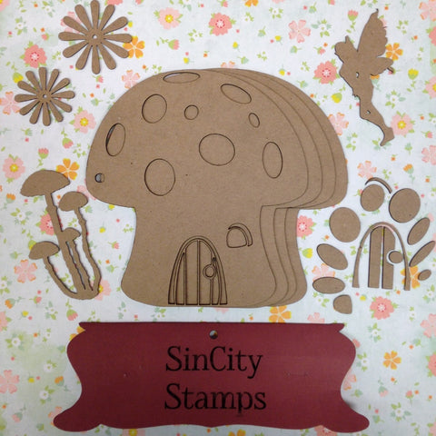 "Sin City Stamps Mushroom Chip Board Album  6"" X 6.25 '' - Scrapbook Kyandyland"