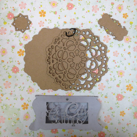 "Sin City Stamps Doily Chip Board Album  5.5"" X 5.5 '' - Scrapbook Kyandyland"