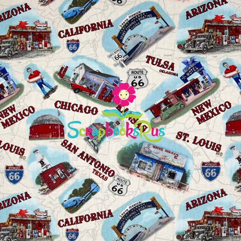 "AMERICAN LANDMARKS Route 66 12""x12"" Travel Scrapbook Paper Sheet"