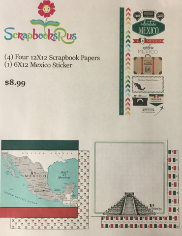 MEXICO KIT #3 Sightseeing Discover Travel Scrapbook Paper Stickers 5 pc. Scrapbooksrus