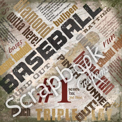 "BASEBALL EXTREME Scrapbook Customs 12""X12"" Cardstock Paper Sheet - Scrapbook Kyandyland"
