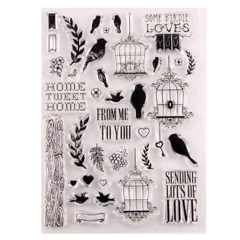 BIRD TWEETS Clear Acrylic Stamp Set 38pc