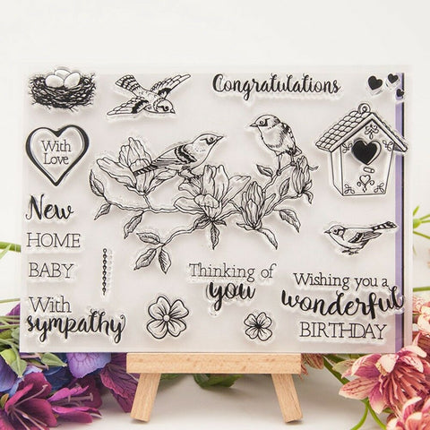 BIRDS ON A FLOWER Clear Acrylic Stamp Set 17pc