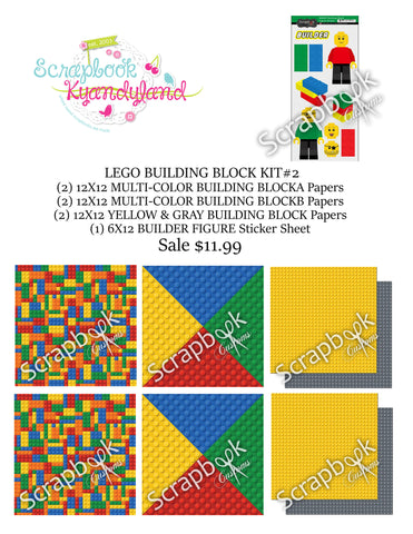 LEGO SCRAPBOOK KIT 16pc Custom Building Blocks World #2 - Scrapbook Kyandyland