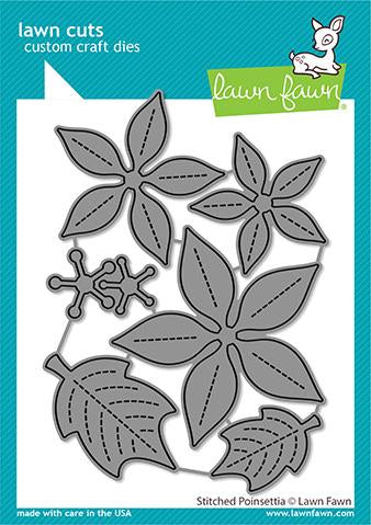 Lawn Fawn Cuts STITCHED POINSETTIA Custom Craft Dies 6pc Scrapbooksrus