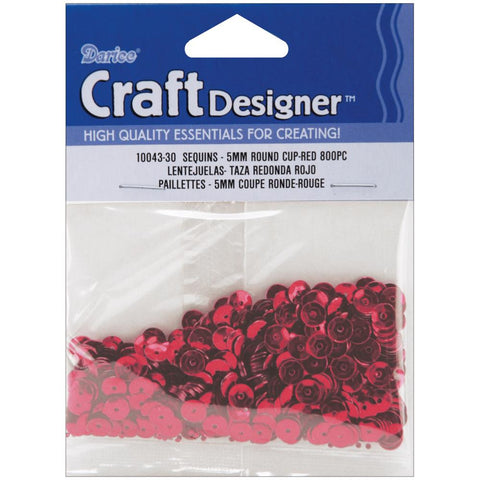 Darice Sequins RED 5mm 800pc Round Cup