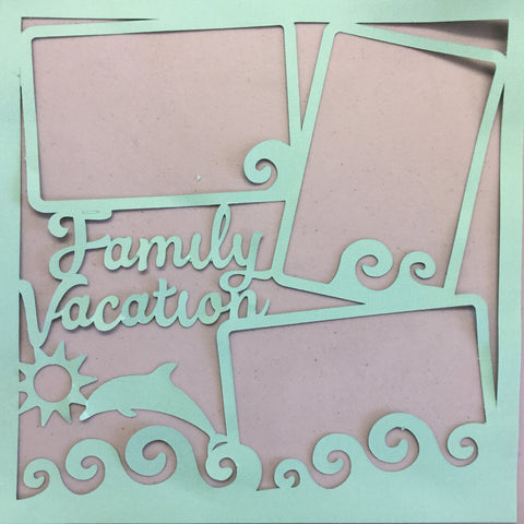 "Page Frame FAMILY VACATION PACIFIC 12""x12"" Scrapbook Overlay"