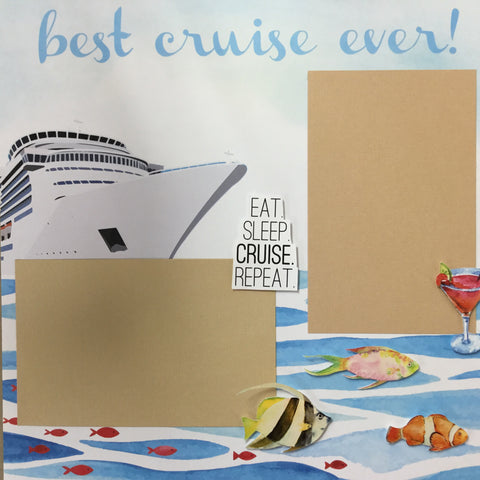 Premade BEST CRUISE EVER (2) 12X12 Scrapbook Pages Scrapbooksrus